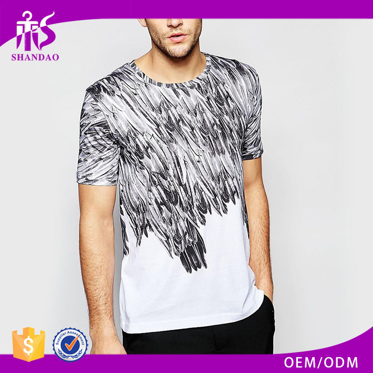 Guangzhou Shandao Summer New Design Casual 120g 100% Polyester Short Sleeve White O-Neck Printed Tee Shirt
