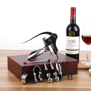 Deluxe 9pcs Rabbit Vertical Lever Corkscrew Wine Bottle Opener Wooden Box Set