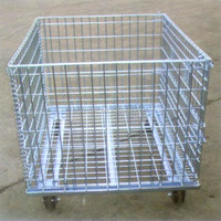 galvanized steel wire basket with wheels,bulk container,heavy duty plastic pallet