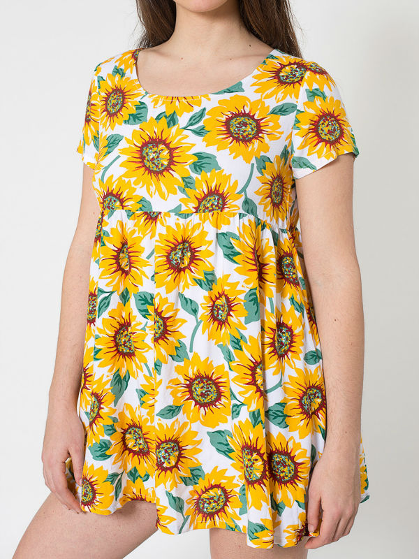 summer blouses clothing brand Sunflower Printed Rayon Babydoll Dress free hot chinese clothing companies model-cp184