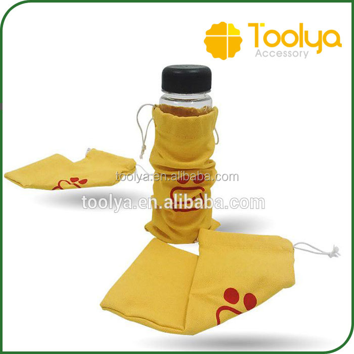 Custom recyle cotton buggy bag for bottle Travel Hiking water bottle climbing bags D-ring holder drawstring pouch