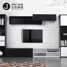 Unique design living room black wall mount display cabinet