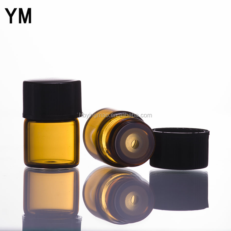 YM 1ml 2ml 3ml mini sample empty cosmetic essemtial oil amber glass vials with black screw cap plastic orifice reducer