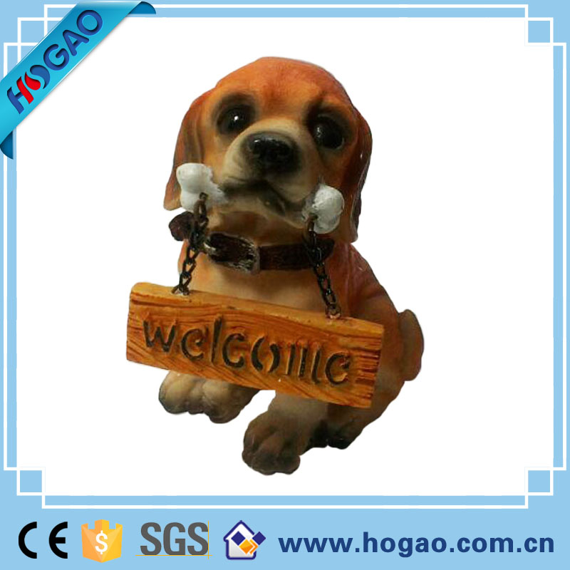 Custom resin welcome dog for home decor, Promotional welcome dog animal statues for sale,decorative resin dog figure