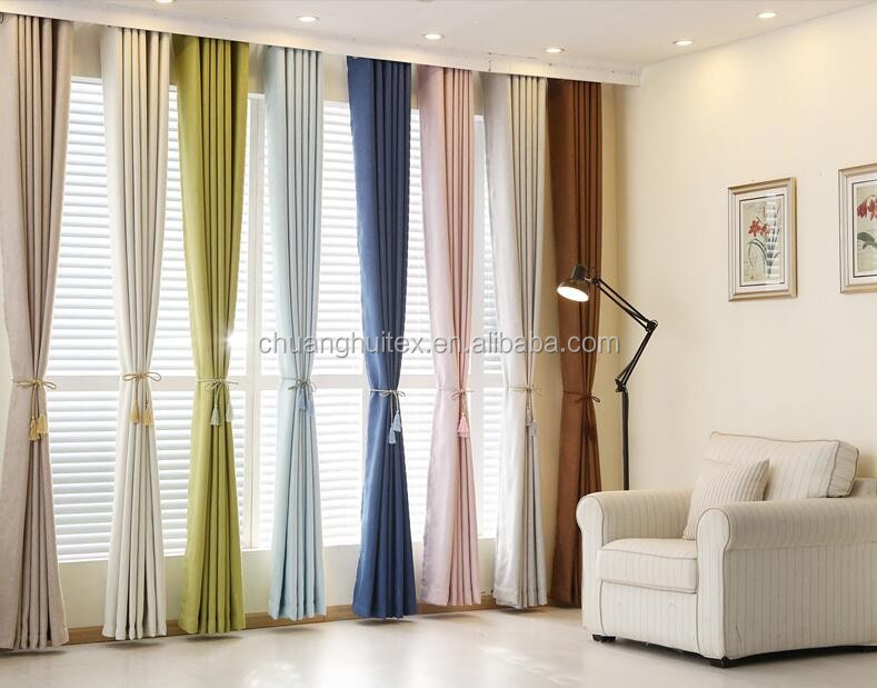 polyester linen look like heat resistant blackout curtain fabric