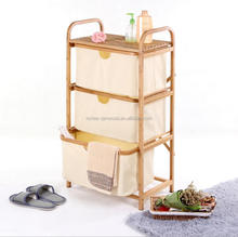 3 tier bamboo bathroom storage rack with fabric drawers