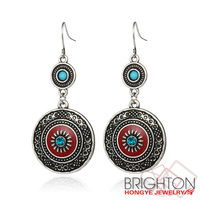 Antique Silver Blue Beads Engraved Drop Earrings E1-32003-1750