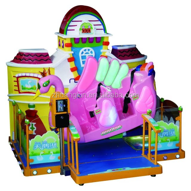 fiberglass girls like pink Swan Lake kiddie rider/kids game/animal kids amusement park