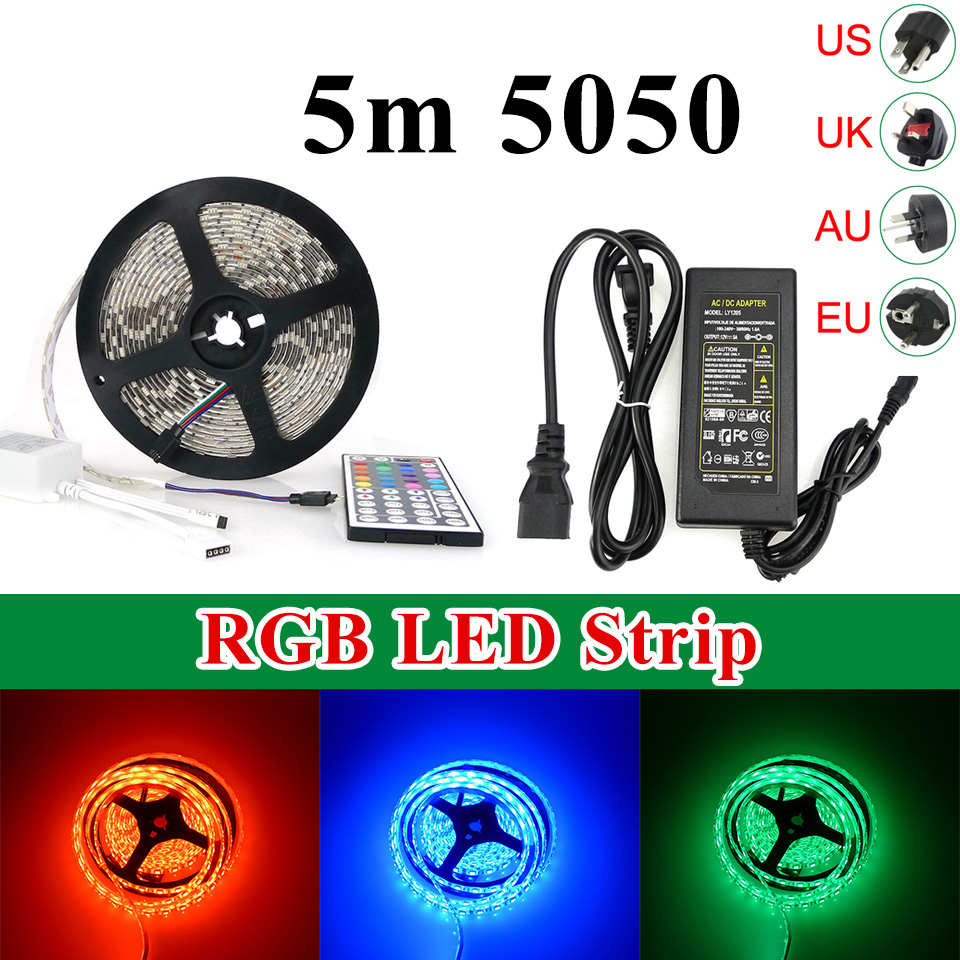 <strong>RGB</strong> LED Strip 5050 <strong>RGB</strong> Waterproof 60leds/m 44keys IR Remote Controller 12V 5A Power Adapter Flexible Light 5m/roll 300led/roll