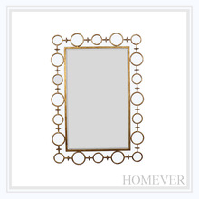 abstract home decoration gold iron rectangle wall mirror
