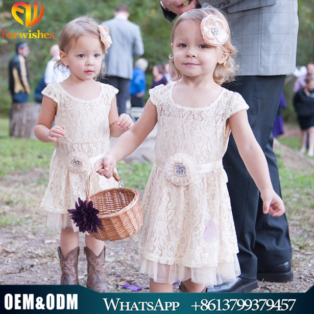 2017 hot sale children clothing rustic wedding flower girl dress Baby Bridesmaid lace girl dresses