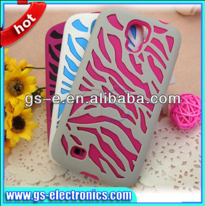 Color Zebra Stripes Phone Case For Samsung Galaxy S4 i9500 Rubber Design Phone Case