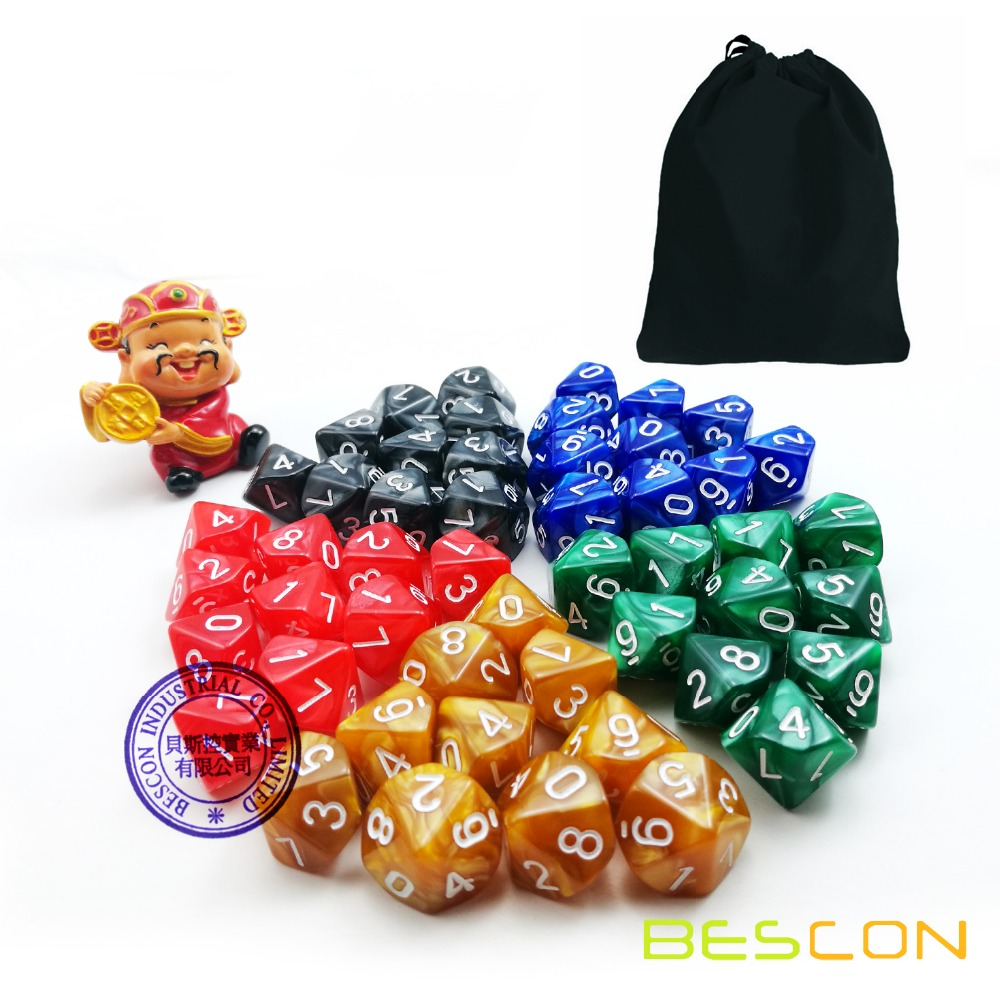 50pcs Assorted Different Colors <strong>D10</strong> Pack, 5X10pcs 10 Sides Dice Marble Polyhedral Dice <strong>D10</strong> Set