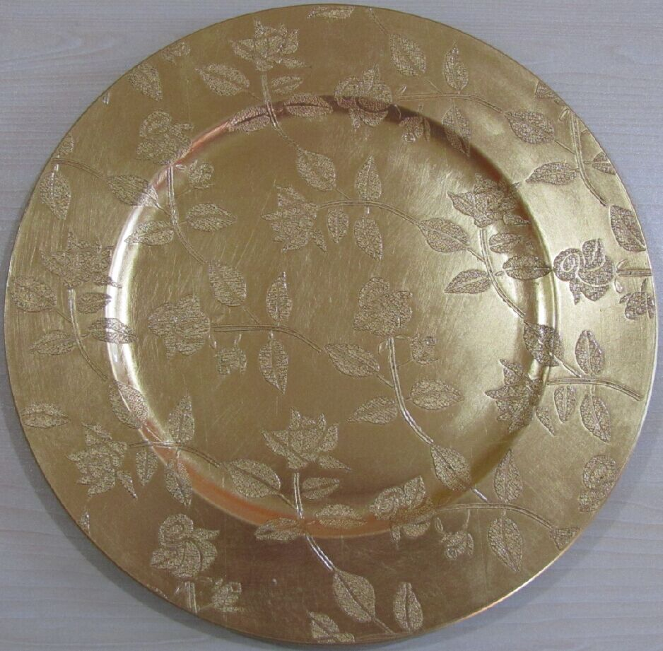 gold plastic rose charger plates wholesale with foil leaf