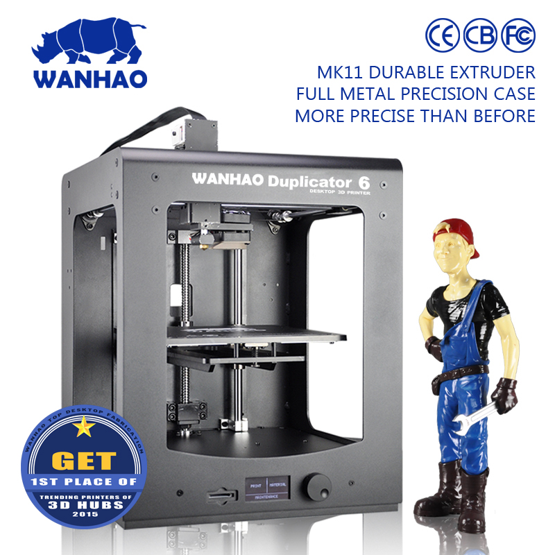 WANHAO 2016 new model 3d printer D6, high quality, low price, light during working. Desktop model with mental frame.