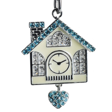 Wholesale hot selling 2016 custom new design House Clock Crystal Rhinestone Metal Keychain KC13058