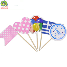 fancy party decoration umbrella flag wooden toothpicks