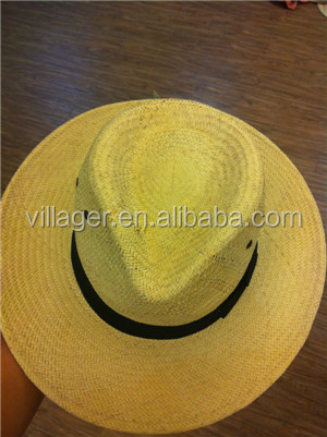 2014 Men's ya Safri handmade straw hat Natural Beaded Trim Decoration