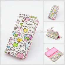 Factory OEM mobile accessory girls use cute image PU leather wallet flip mobile phone shell For samsung Note4 Note3 S5 case