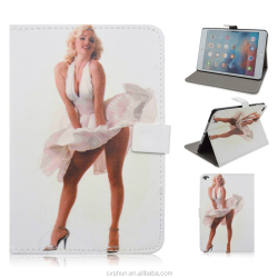 New Arrival Sexy Star Marilyn Monroe Design 7.9inch Folio Stand with Magnetic Button PU Leather Smart Cover For iPad Mini4 Case
