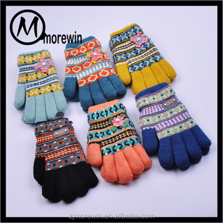 Morewin gloves taobao hot sell korea style cute children winter warm knit gloves
