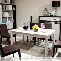 4N015 Tempered Glass Extension Dining Table