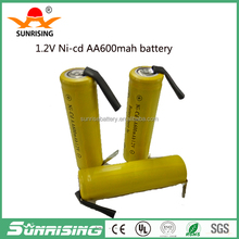 nicd rechargeable battery pack aa 600mah 2.4v 1.2V/NI-MH AA battery pack with solder tab