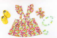 OEM 2016 summer beach Hawaii jungle boutique flower floral print strap cotton woven skirt baby girls headband dresses