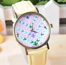 Leather Strap 14 Color Stripe Dial Super Design Casual Geneva Wrist Watch for Women dress Boy and Girls watches 2014 new