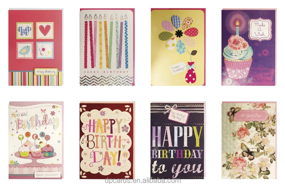 New design happy birthday greeting card sample