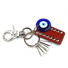In stock!Silver alloy multi blue evil eye car key chain leather