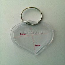 4.4cmx3.8cm hanging blank acrylic key chain with metal ring