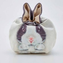 Round drawstring cute small rabbit cosmetic bag cotton