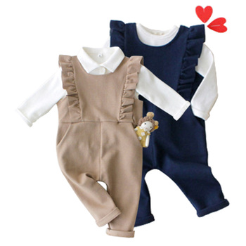 Fashion design children girls suspender pants