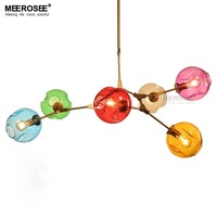 Colored E27 LED Lighting Glass Blown Lampshades Glass pendant Lighting over Kitchen Island MD83002 L6