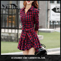 New arrival autumn women long sleeve bandage plaid shirt dress manufacturer