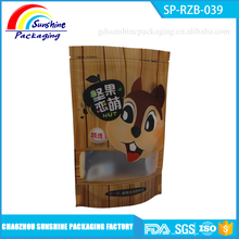 Printed Top Zip Plastic Bag / Round Bottom Plastic Food Packaging Bag / Stand Up Pouch Bag with Window