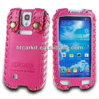 Promotional For Samsung showkoo accessories, Durable Hand Made Cow Genuine Leather Flip Cover Galaxy S4 I9500