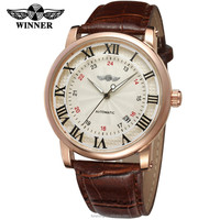 2016 MEN WATCH WINNER 9G8051M3R Sky blue roman numbers rose gold case brown genuine leather strap factory watch