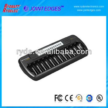 Ni-MH AA/AAA 12 tank LCD battery charger