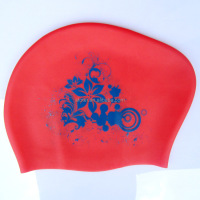 Cheap Silicone long hair swim cap for women