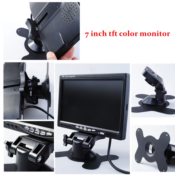 7 Inches TFT LCD Car Headrest Monitor With 2 AV Port Color Car Monitor