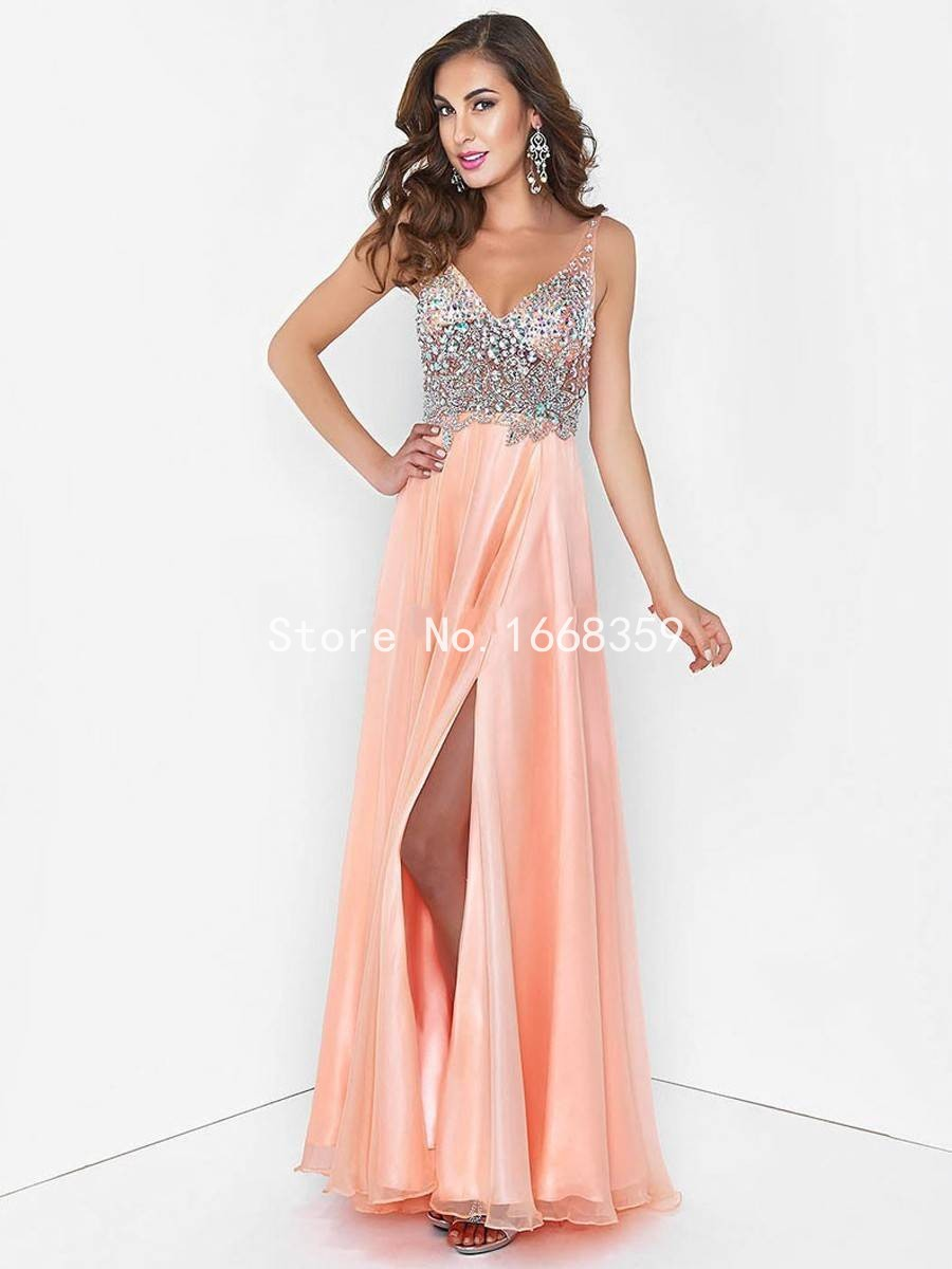 Get Quotations · Free Shipping 2015 V Neck See Through Black Pink Long  Party Gowns Side Slit Backless Chiffon 136db4208a1a