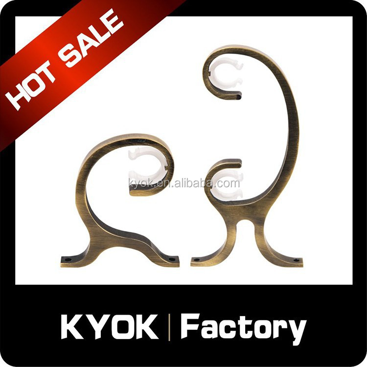 KYOK New disign wooden curtain rod bracket ,adjustable curtain rod bracket ,metal curtain rod bracket