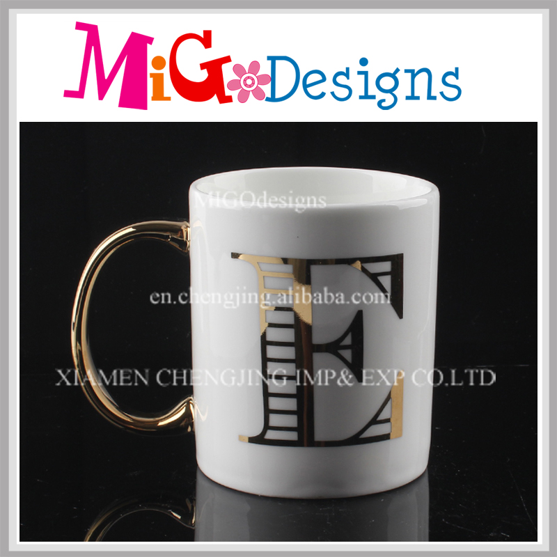 Decorative Ceramic Mugs with Gold Handle