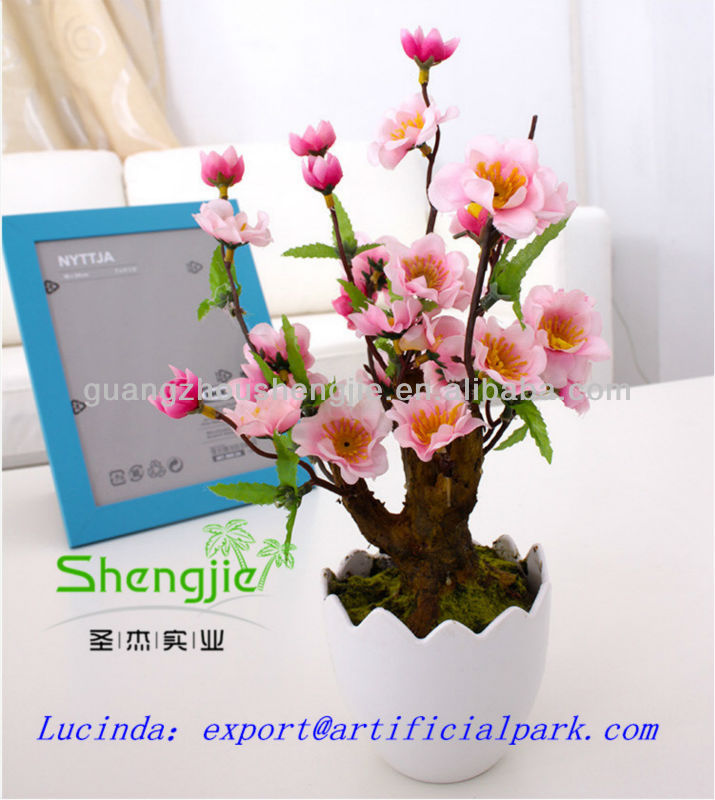wholesale desk decoration artificial/fake mini pink blossom peach tree bonsai