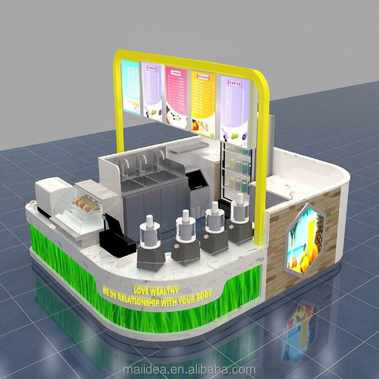 Hot summer fresh fruit juice bar kiosk design with bar counter smoothie booth for sale
