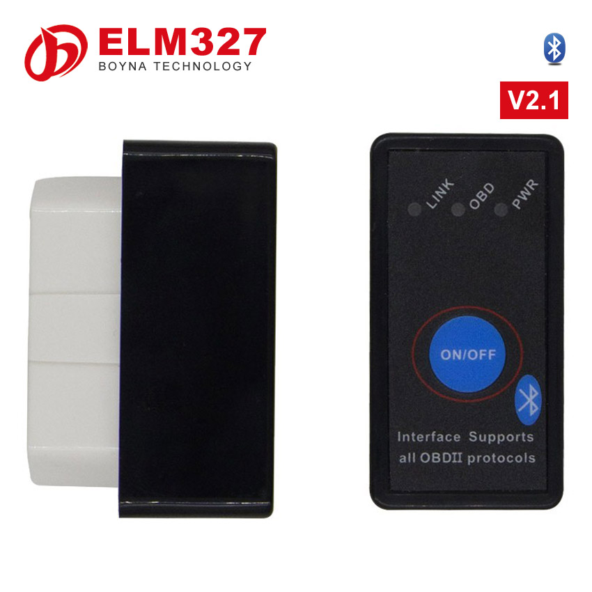 Super Mini ELM327 Bluetooth ELM 327 USB OBD2 OBD ii CAN-BUS Diagnostic Tool(white+black)+Switch Works on Android Symbian Windows