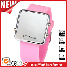 alibaba express popular water resistant silicone sport mirror led watch hot