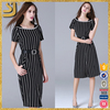New arrival one piece black stripe designs pencil dress for women